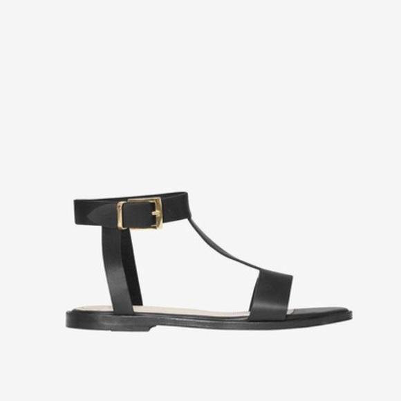 ebf5f1e69cbb98 Anine Bing Black Leather Ankle Strap Sandals